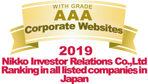 WITH GRADE AAA Corporate Websites 2019 Nikko Investor Relations Co.,Ltd. Ranking in all listed companies in Japan