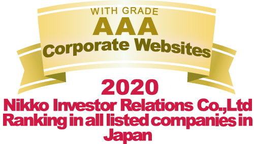 WITH GRADE AAA Corporate Websites 2020 Nikko Investor Relations Co.,Ltd. Ranking in all listed companies in Japan